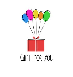 Gift in the box colorful balloon birthday vector