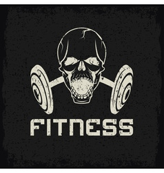 Grunge aggressive skull and barbell fitness emblem vector