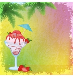 Ice cream strawberries and palm branches vector