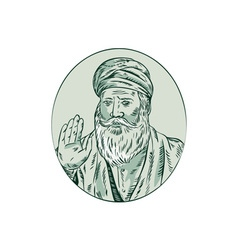 Sikh guru priest waving etching vector