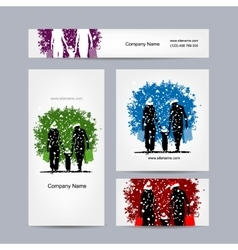 Business cards design christmas family vector