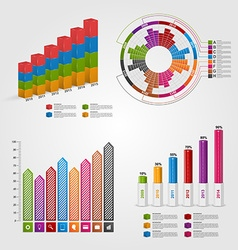 Set colorful business chart for infographic and vector
