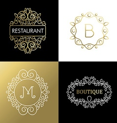 Ornament frame set mono line art outline sign gold vector