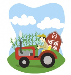 Farmer on a tractor vector