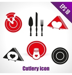 Set icons for kitchen broken dish knife vector