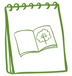 A green notebook with an image of a book at the vector image