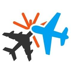 Airplane collision icon vector
