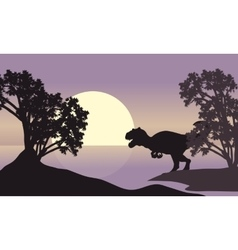 Allosaurus in riverbank scenery silhouette vector
