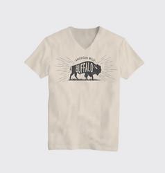 buffalo american wild t-shirt design template vector image vector image