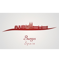 Burgos skyline in red vector image