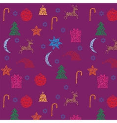 Christmas and new year seamless purple pattern vector