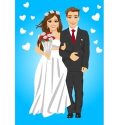 Cute young married couple posing with bouquet vector