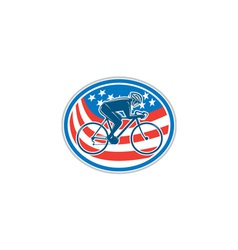 Cyclist Riding Mountain Bike American Flag Oval vector image vector image
