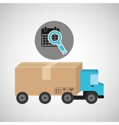 Delivery truck concept calendar search icon vector