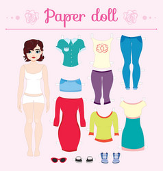 Dress up paper doll with big head pants vector