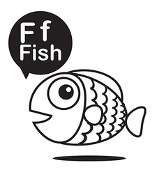 F fish cartoon and alphabet for children to vector