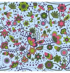 Fantasy flowers seamless pattern colorful vector image