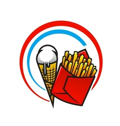Fast foods icon with crispy french fries and ice vector