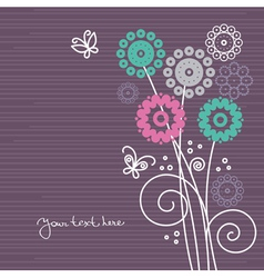 floral background with cartoon butterflies vector image vector image