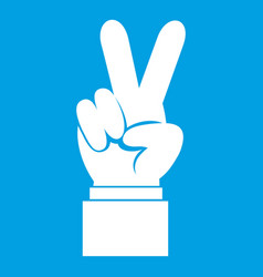 Hand with victory sign icon white vector