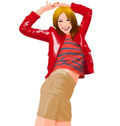 happy young woman vector image vector image