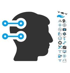Head connectors icon with air drone tools bonus vector