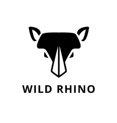 minimalistic flat rhino head logo vector image