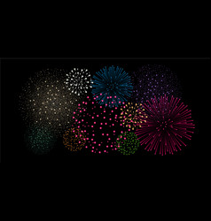 Multicolored fireworks isolated on black vector