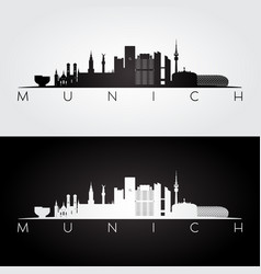 munich skyline and landmarks silhouette vector image