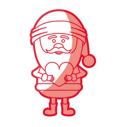 Red silhouette of santa claus with heart in hands vector