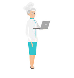 Seinor caucasian chef cook using a laptop vector