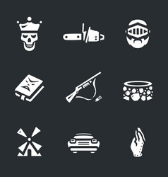 Set of necromancy icons vector
