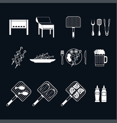 set of shish kebab grill vector image