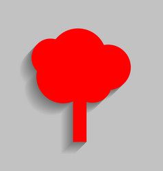 tree sign red icon with soft vector image