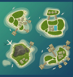 Tropical islands top view travel and tourism sign vector