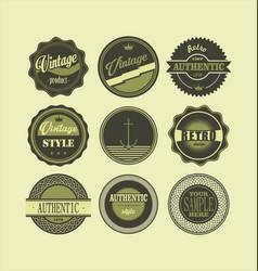 Vintage labels black and green set 1 vector