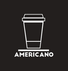 White icon on black background cup of vector