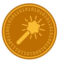 wizard wand digital coin vector image vector image