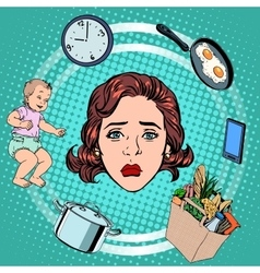 Woman housework sadness vector