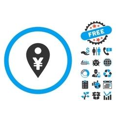 Yen map marker flat icon with bonus vector