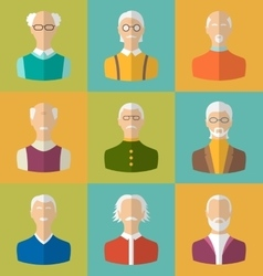 Old people icons of faces of old men grandfathers vector