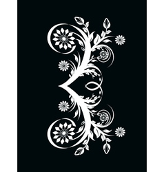 Number three made with floral ornament on blac vector