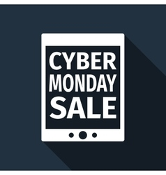 Tablet pc with cyber monday sale text on screen vector