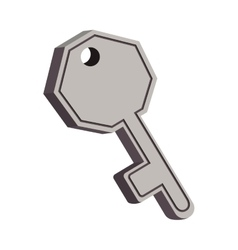 Gray silhouette key icon with shadow vector
