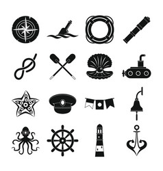 Nautical icons set simple style vector