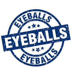 Eyeballs blue round grunge stamp vector