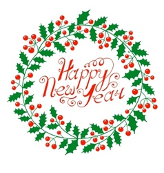 Christmas wreath with the wish a happy new year vector