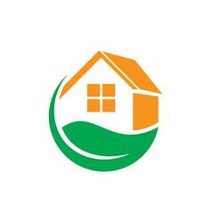leaf home eco business logo vector image
