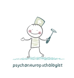 Psychoneuropathologist stands with a hammer in his vector
