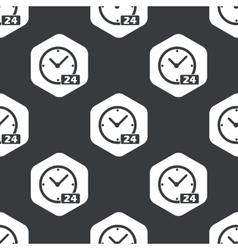 Black hexagon clock 24 pattern vector